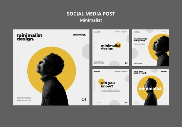 Instagram posts collection in minimal style for art gallery with man Free Psd