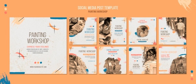 Painting workshop social media posts template Free Psd